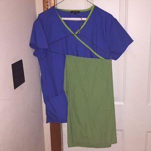 Blue and green scrub top and green scrub pants